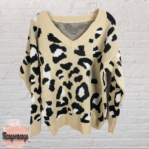 Cheetah Print V-Neck Sweater